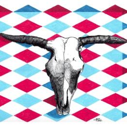Handdrawn Prismacolor and Ballpoint Pen of bull skull on argyle pattern